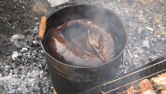 Рыбка в процессе готовки